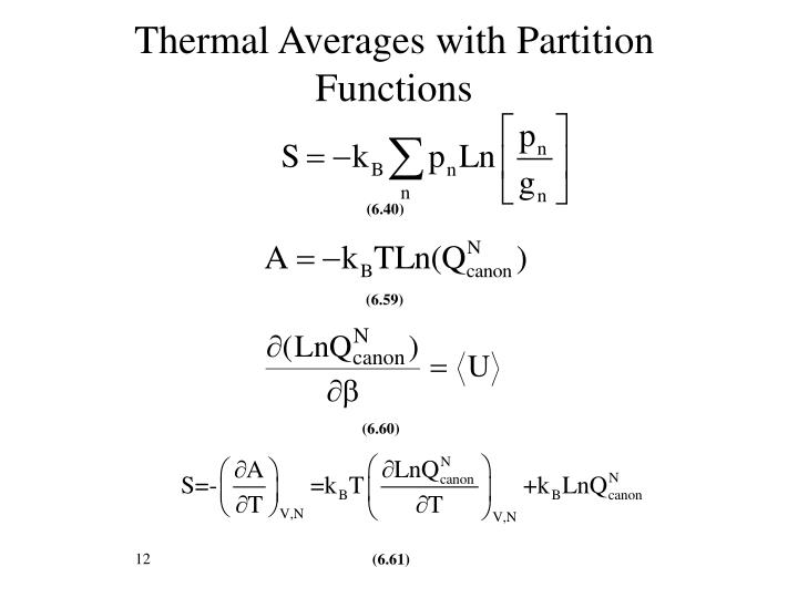 Thermal Averages with Partition Functions