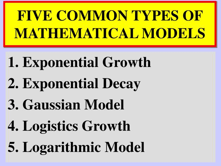 FIVE COMMON TYPES OF MATHEMATICAL MODELS