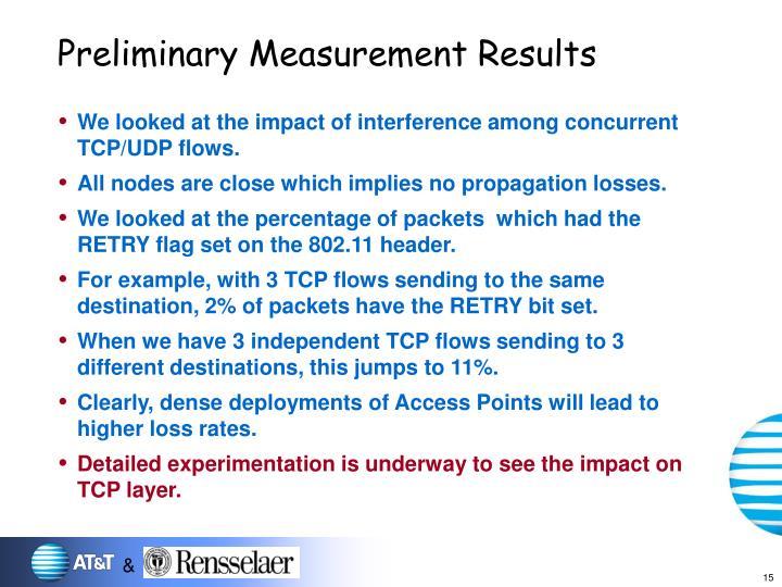 Preliminary Measurement Results