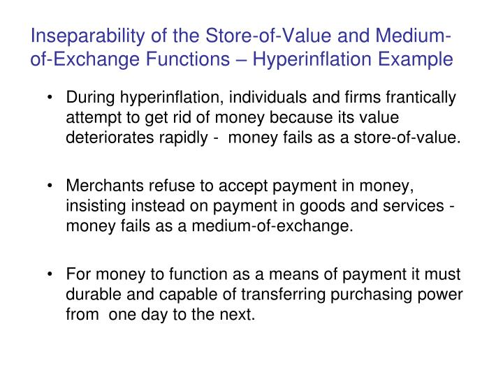 Inseparability of the Store-of-Value and Medium-of-Exchange Functions – Hyperinflation Example