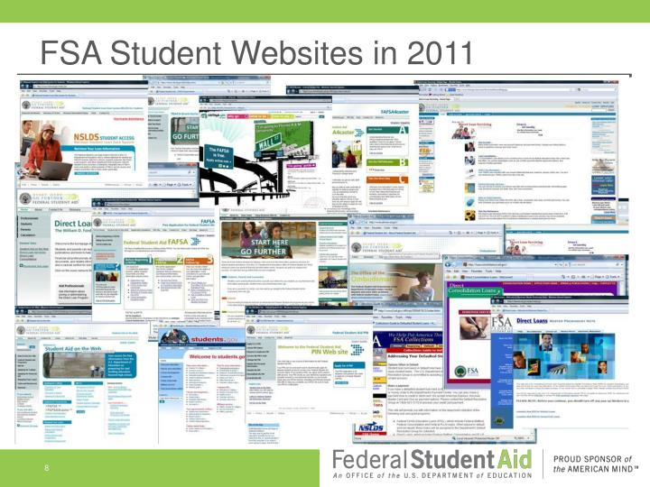 FSA Student Websites in 2011