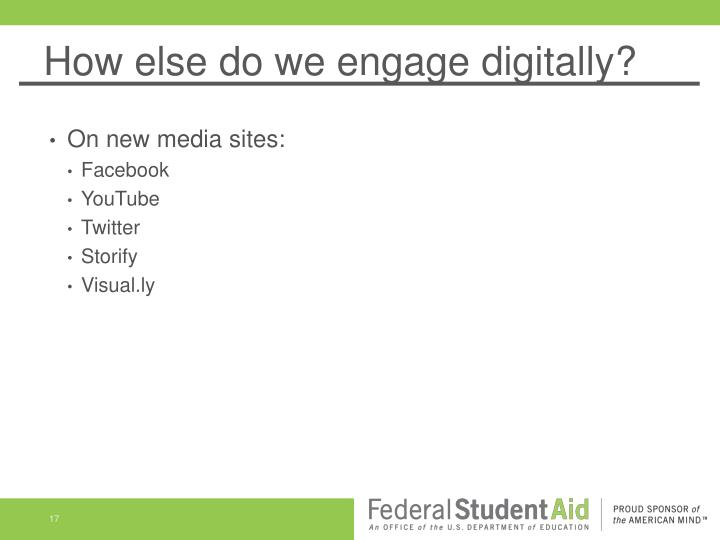 How else do we engage digitally?