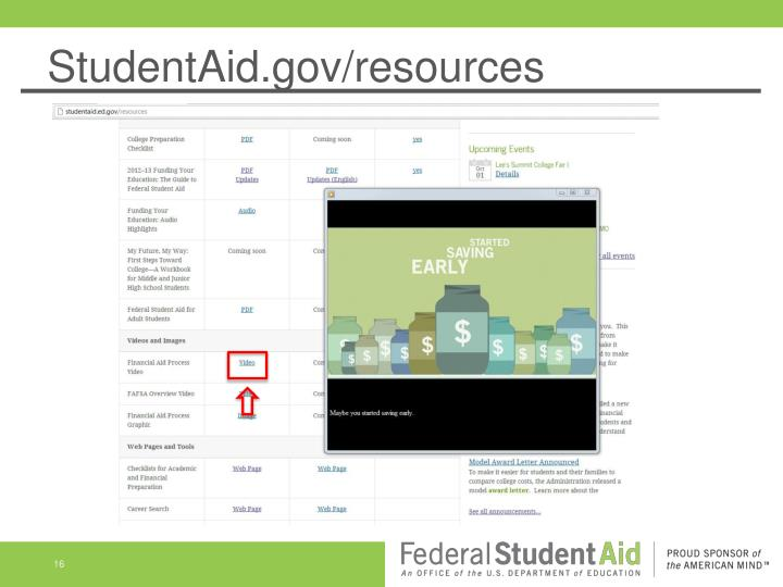StudentAid.gov/resources