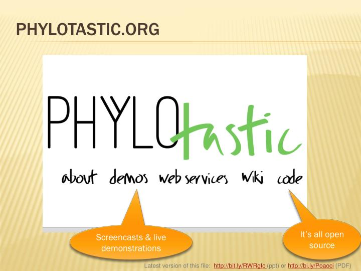 PHYLOTASTIC.ORG