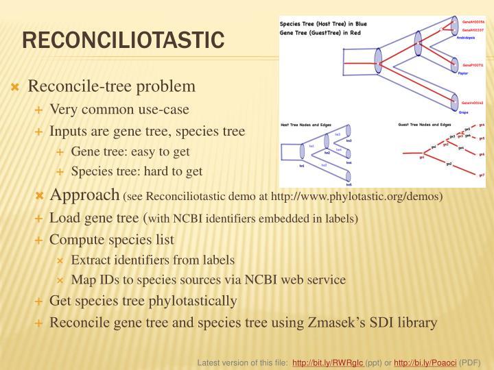 Reconcile-tree problem