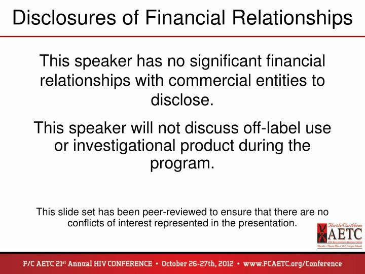 Disclosures of Financial Relationships