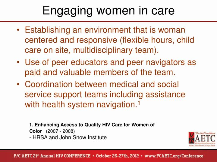 Engaging women in care