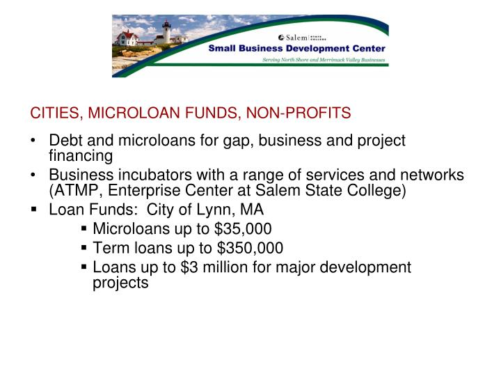 CITIES, MICROLOAN FUNDS, NON-PROFITS