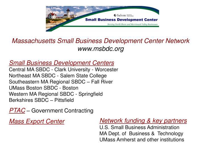 Massachusetts Small Business Development Center Network
