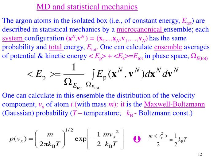 MD and statistical mechanics