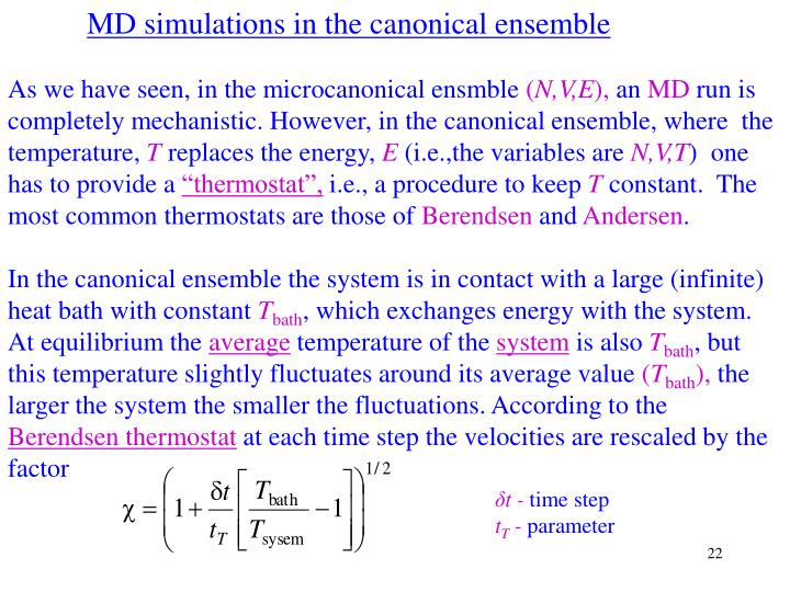 MD simulations in the canonical ensemble