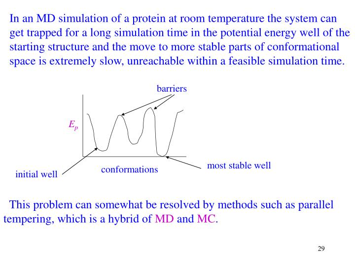 In an MD simulation of a protein at room temperature the system can get trapped for a long simulation time in the potential energy well of the starting structure and the move to more stable parts of conformational space is extremely slow, unreachable within a feasible simulation time.