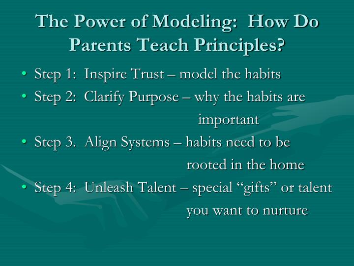 The Power of Modeling:  How Do Parents Teach Principles?