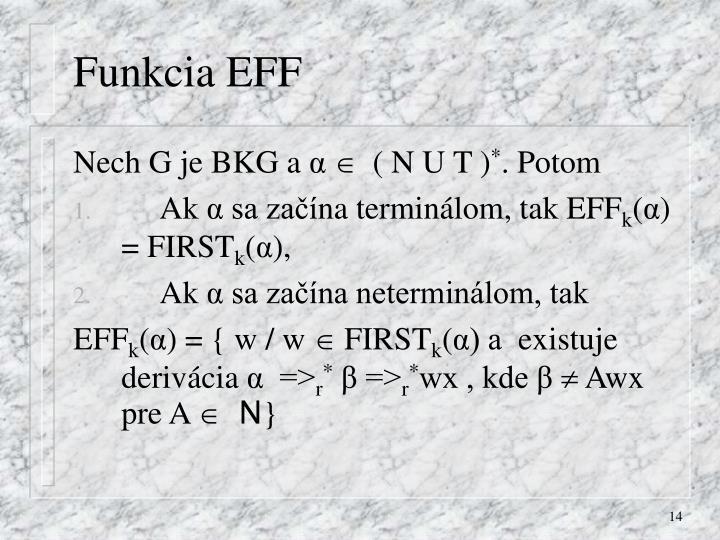 Funkcia EFF