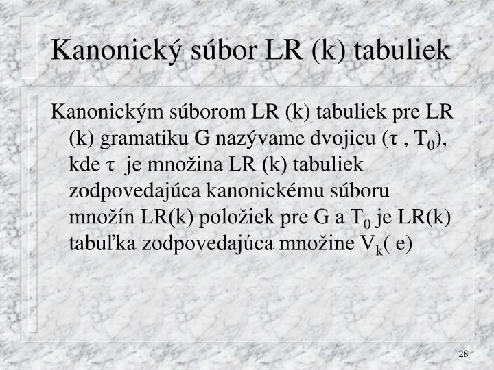 Kanonický súbor LR (k) tabuliek