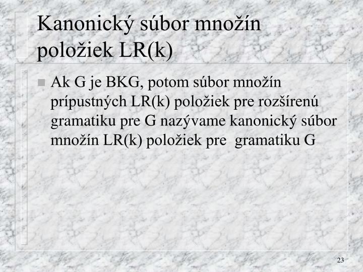 Kanonický súbor množín položiek LR(k)