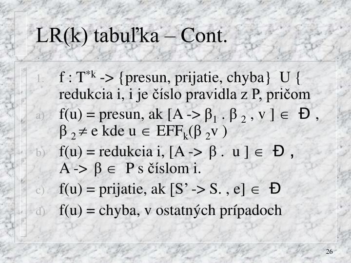 LR(k) tabuľka – Cont.