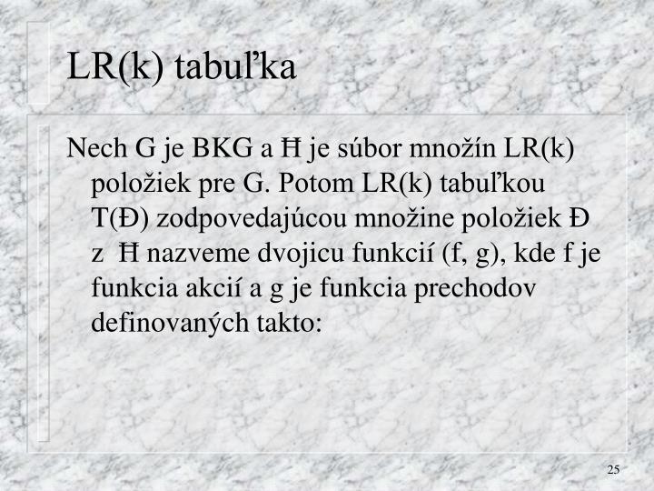 LR(k) tabuľka