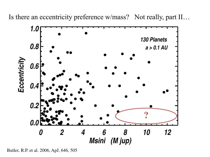 Is there an eccentricity preference w/mass?   Not really, part II…