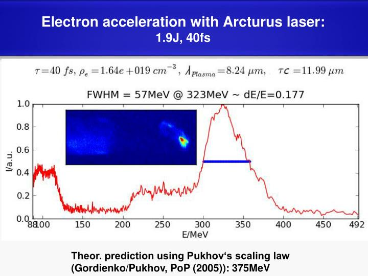 Electron acceleration with Arcturus laser:
