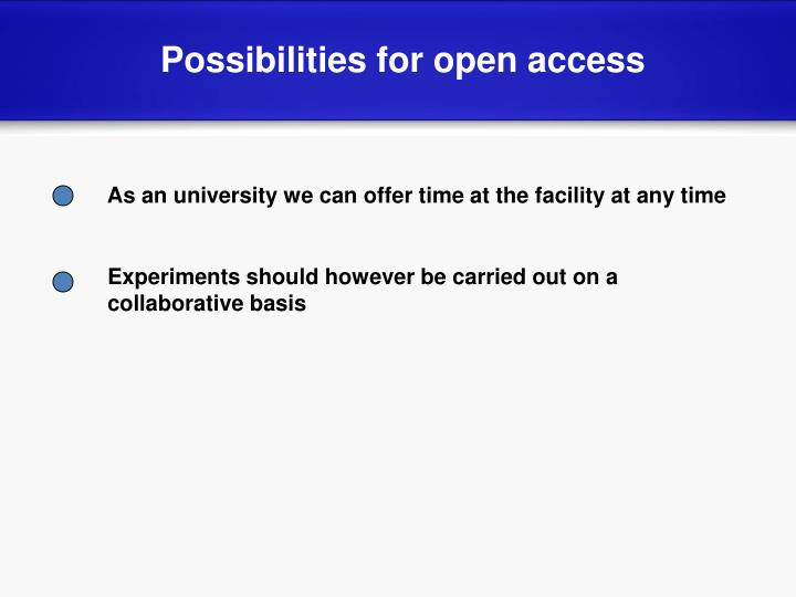 Possibilities for open access