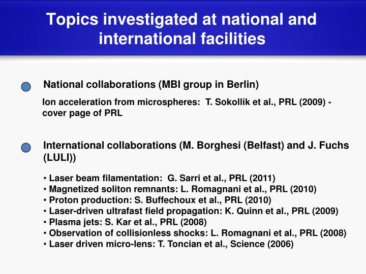 Topics investigated at national and international facilities