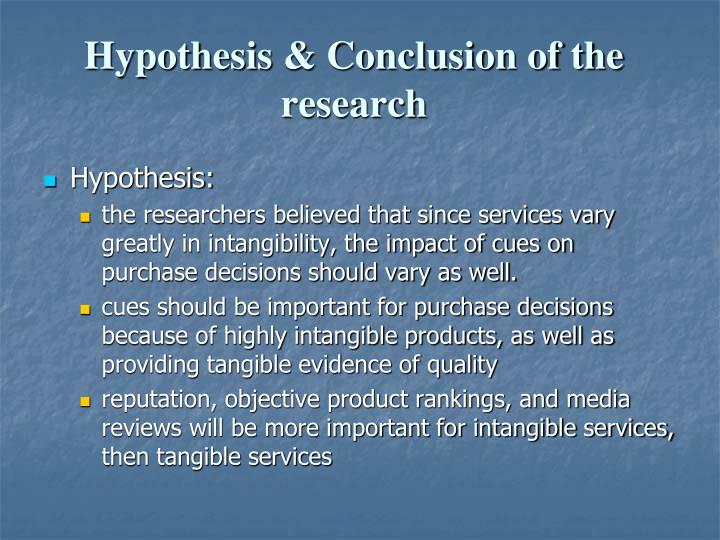 Hypothesis & Conclusion of the research