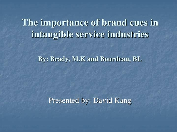 the importance of brand cues in intangible service industries by brady m k and bourdeau bl