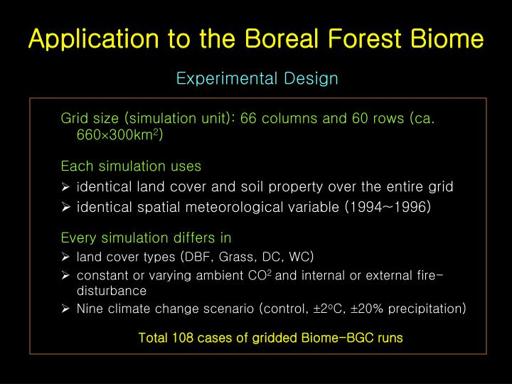 Application to the Boreal Forest Biome