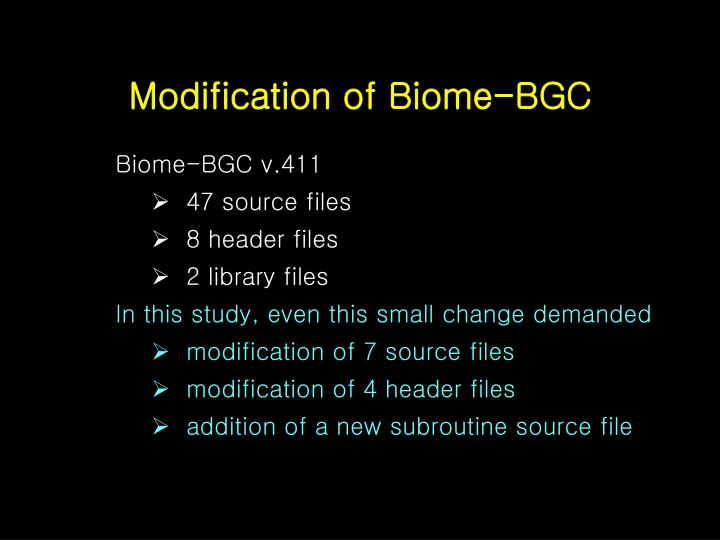 Modification of Biome-BGC