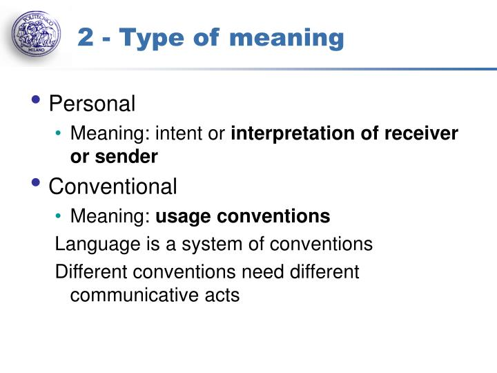 2 - Type of meaning