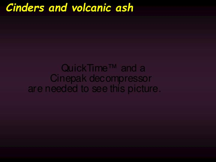 Cinders and volcanic ash