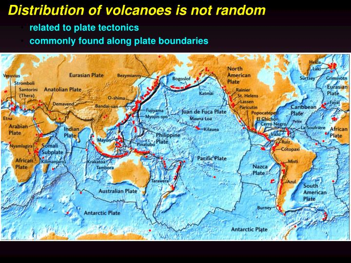 Distribution of volcanoes is not random