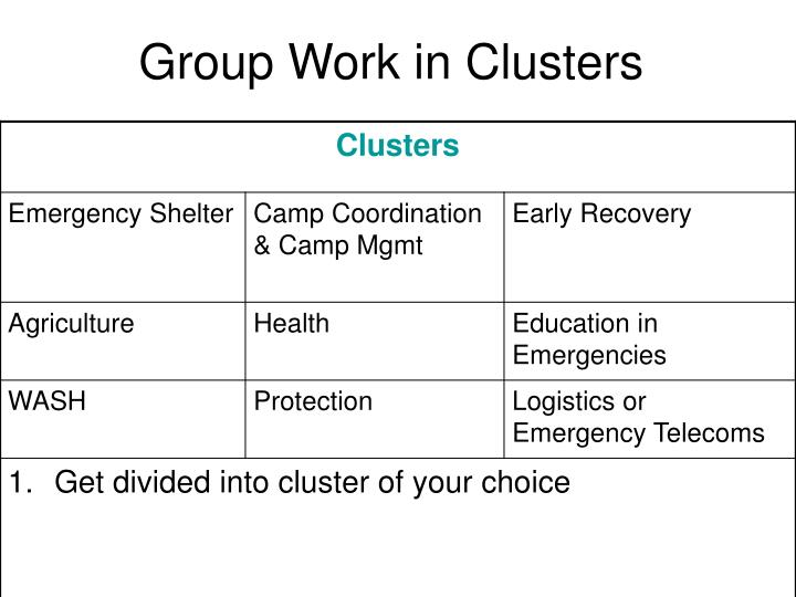 Group work in clusters