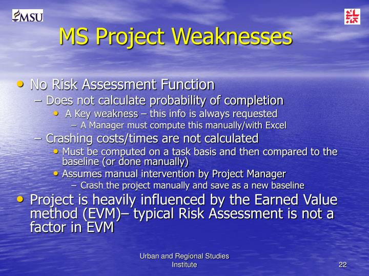 MS Project Weaknesses