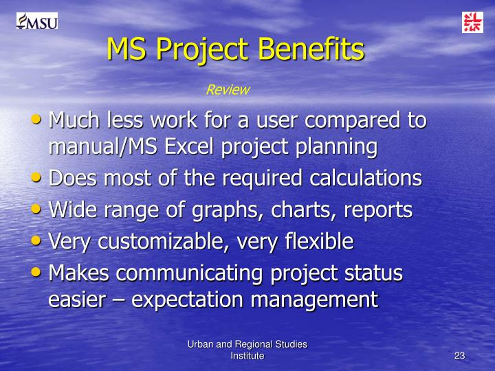 MS Project Benefits