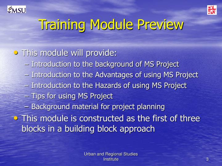 Training module preview