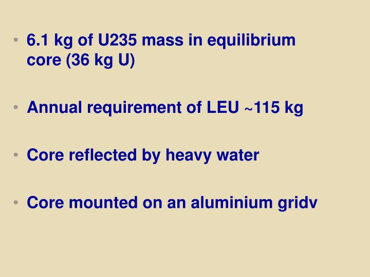 6.1 kg of U235 mass in equilibrium core (36 kg U)