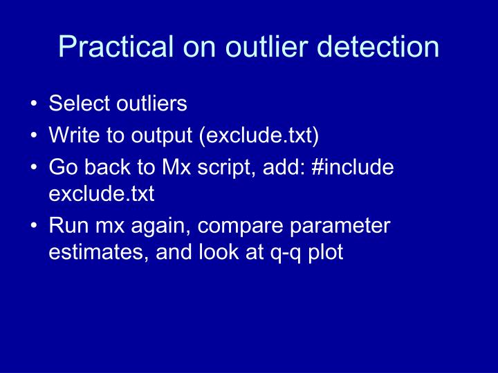 Practical on outlier detection
