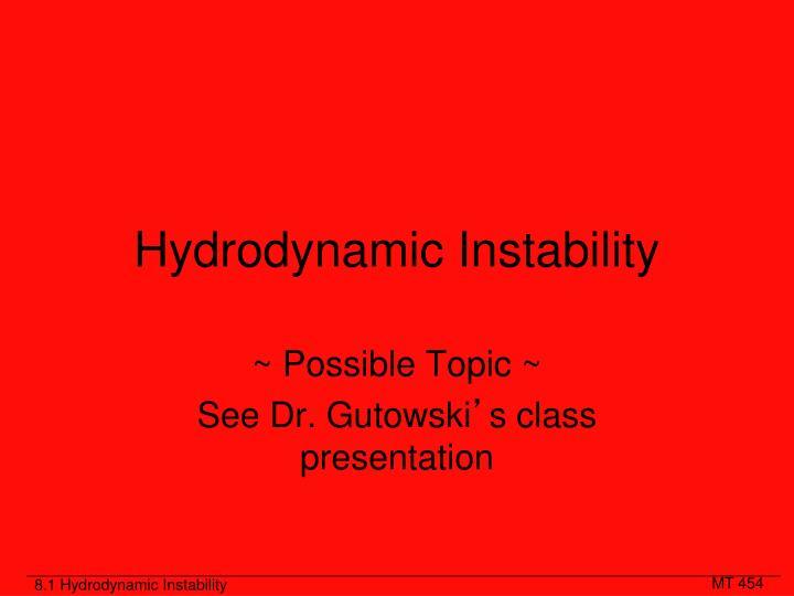 Hydrodynamic Instability