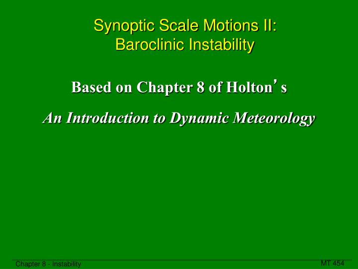 Synoptic scale motions ii baroclinic instability