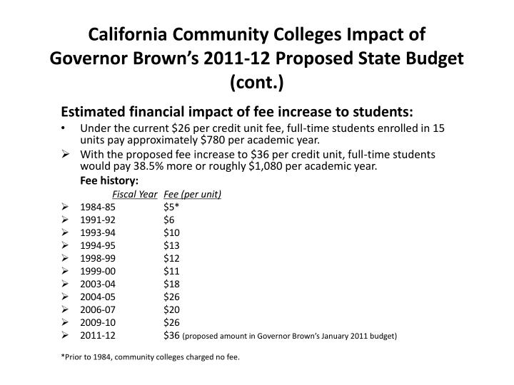 California Community Colleges Impact of