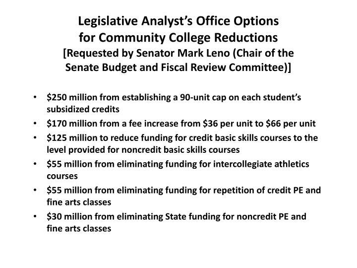 Legislative Analyst's Office Options