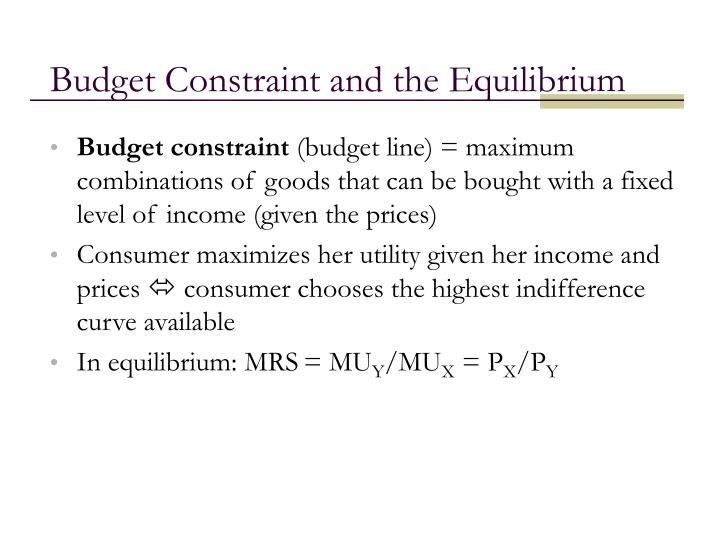 Budget Constraint and the Equilibrium