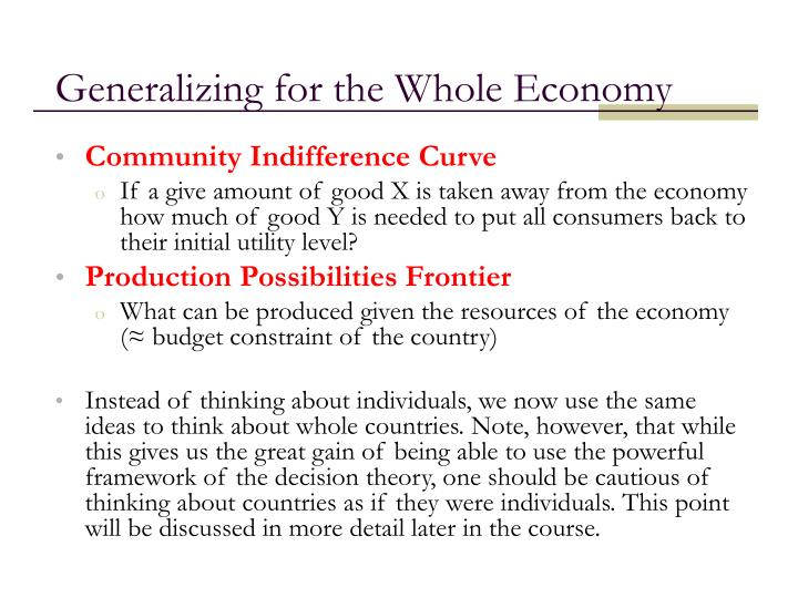 Generalizing for the Whole Economy
