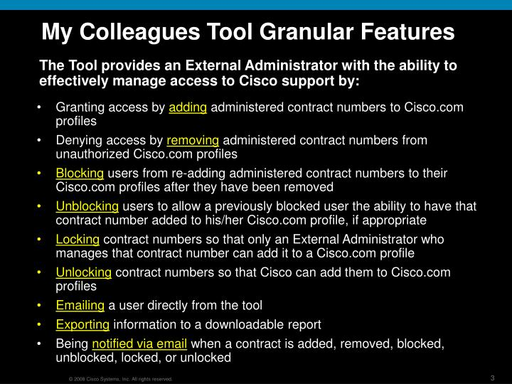 My colleagues tool granular features