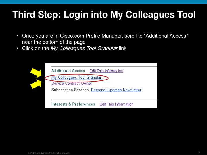 Third Step: Login into My Colleagues Tool