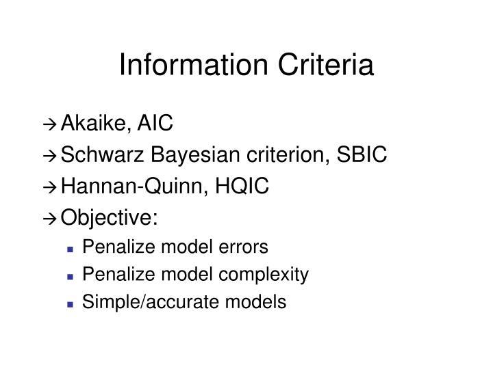 Information Criteria