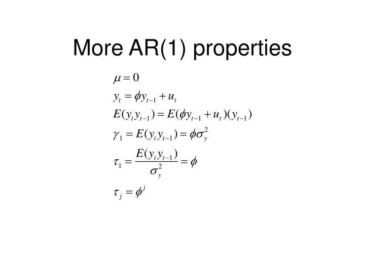 More AR(1) properties