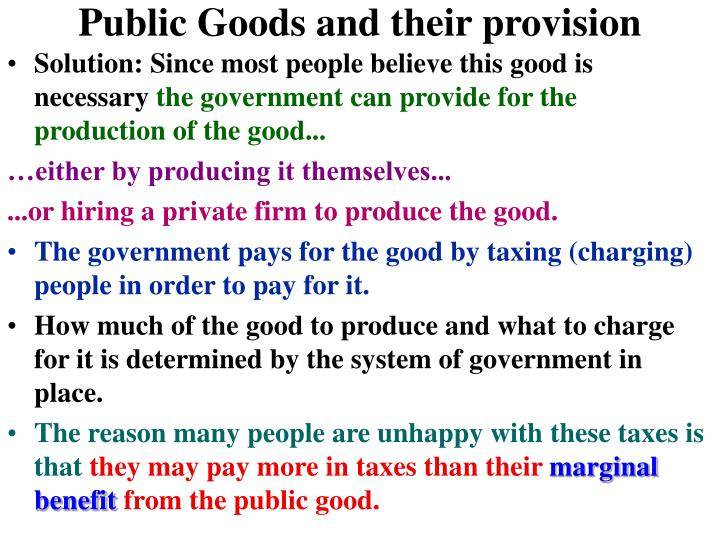 Public Goods and their provision